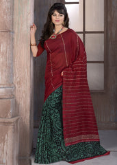 Green & Maroon Color Bhagalpuri Casual Wear Sarees : Supriyan Collection  YF-45755