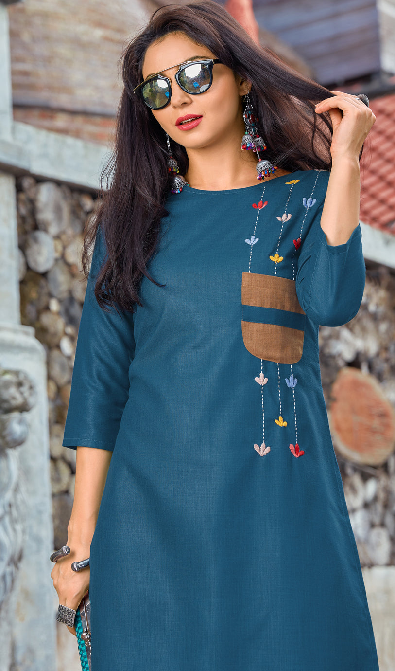 Blue Color Cotton Casual Wear Kurtis NYF-6818