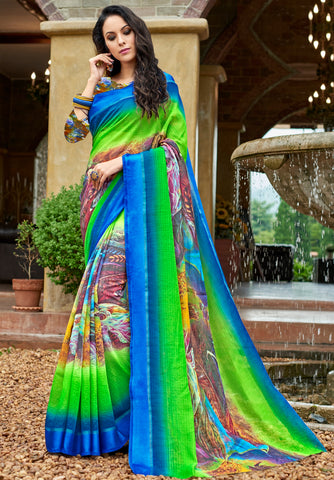 Blue & Green Color Chanderi Silk Designer Digital Print Sarees : Avnita Collection YF-60355