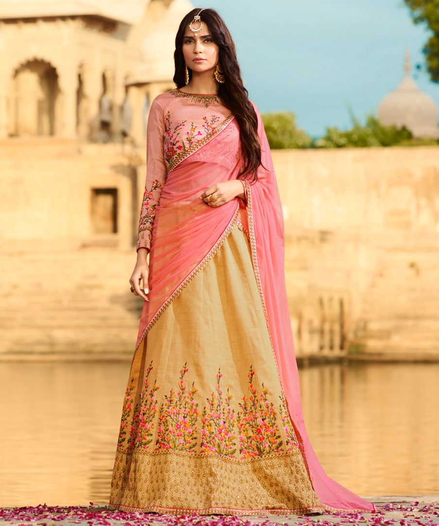 Light Coffee  Raw Silk Designer Lehenga For Wedding Functions : Kreshti Collection  NYF-3299 - YellowFashion.in