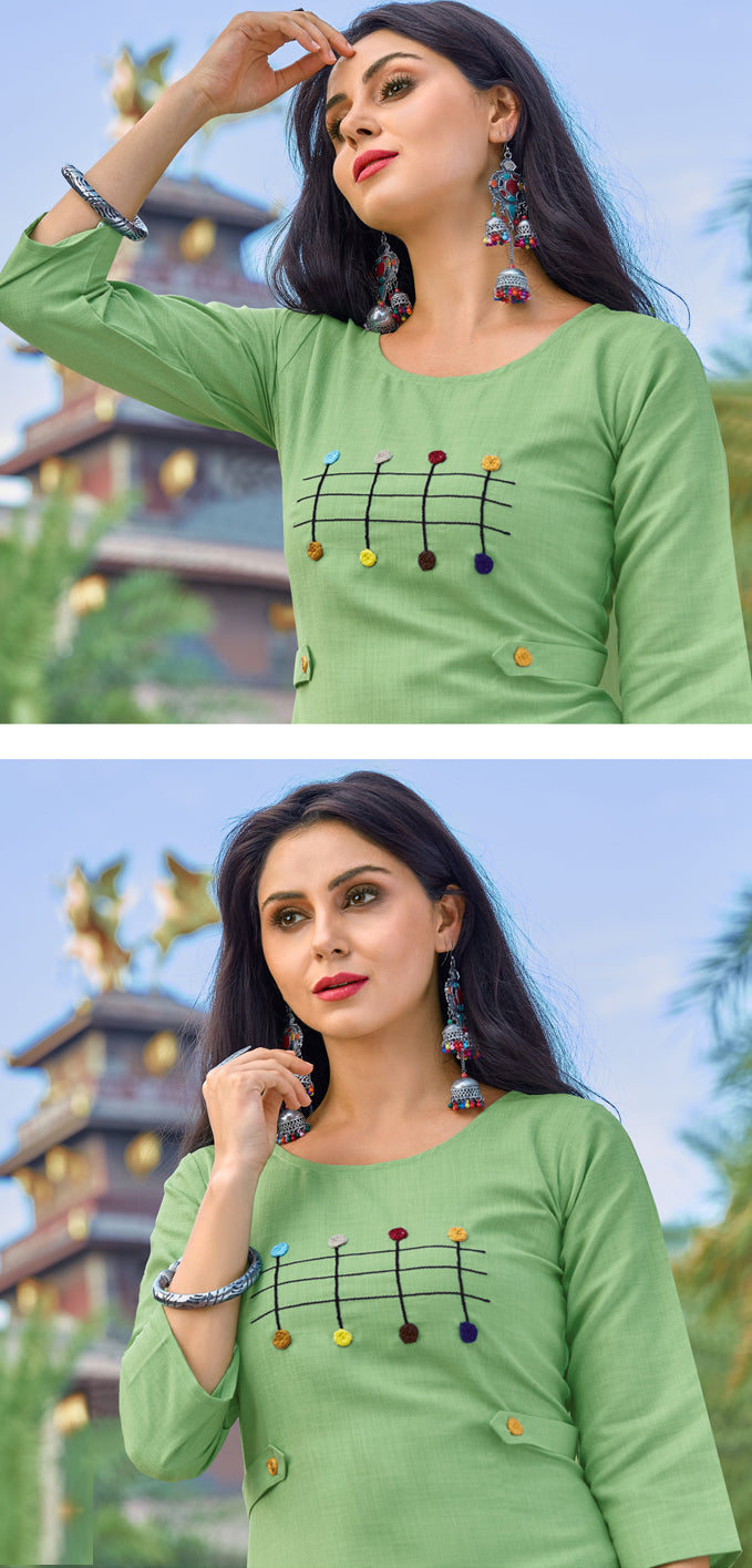 Green Color Cotton Casual Wear Kurtis NYF-6822