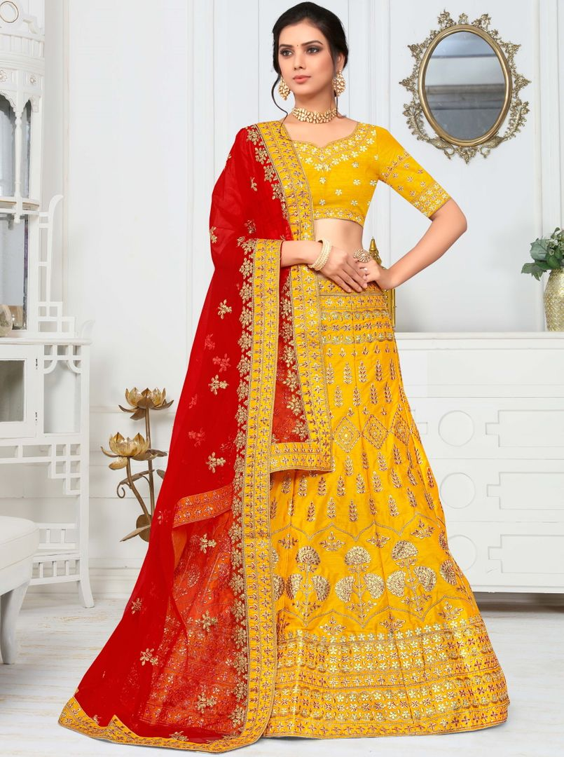Yellow Color Raw Silk Splendid Designer Lehenga NYF-4325 - YellowFashion.in