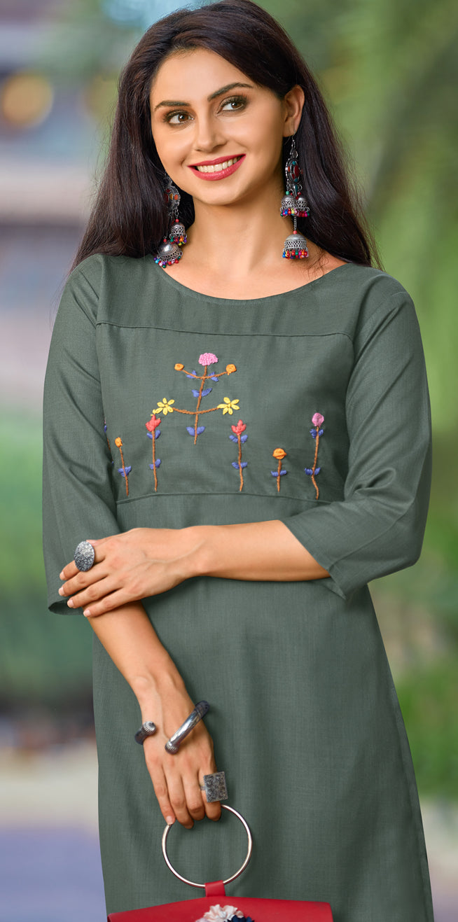 Grey Color Cotton Casual Wear Kurtis NYF-6826