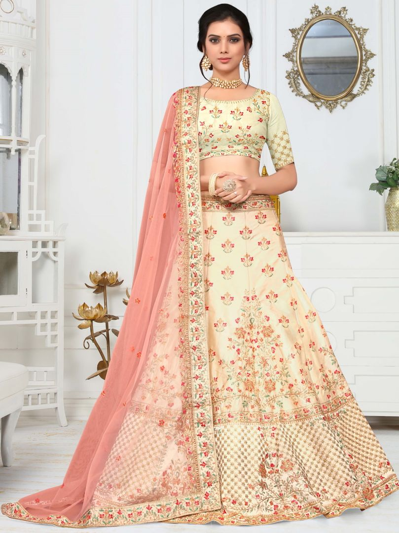 Cream Color Crepe Silk Splendid Designer Lehenga NYF-4328 - YellowFashion.in