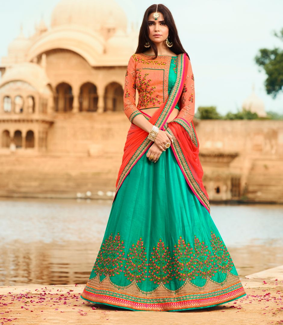 Sea Green  Raw Silk Designer Lehenga For Wedding Functions : Kreshti Collection  NYF-3300 - YellowFashion.in