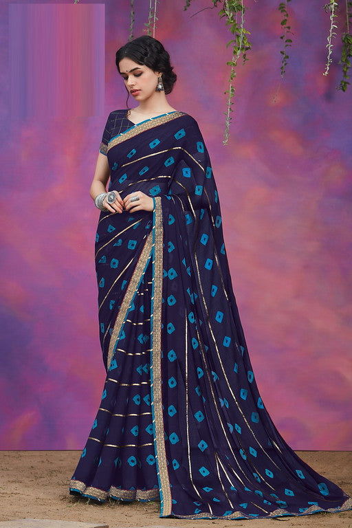 Ink Blue and Firozi Color Chiffon Casual Wear Saree -Ladli Bahu  Collection  YF#11244