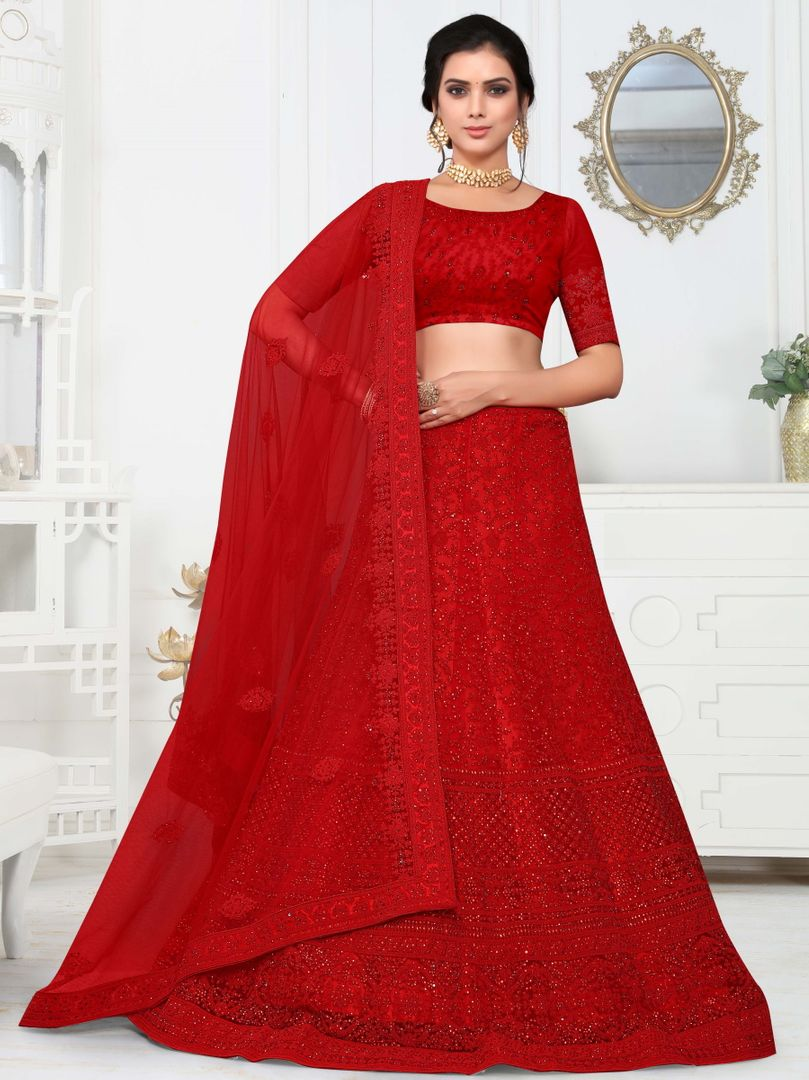 Red Color Net Splendid Designer Lehenga NYF-4335 - YellowFashion.in
