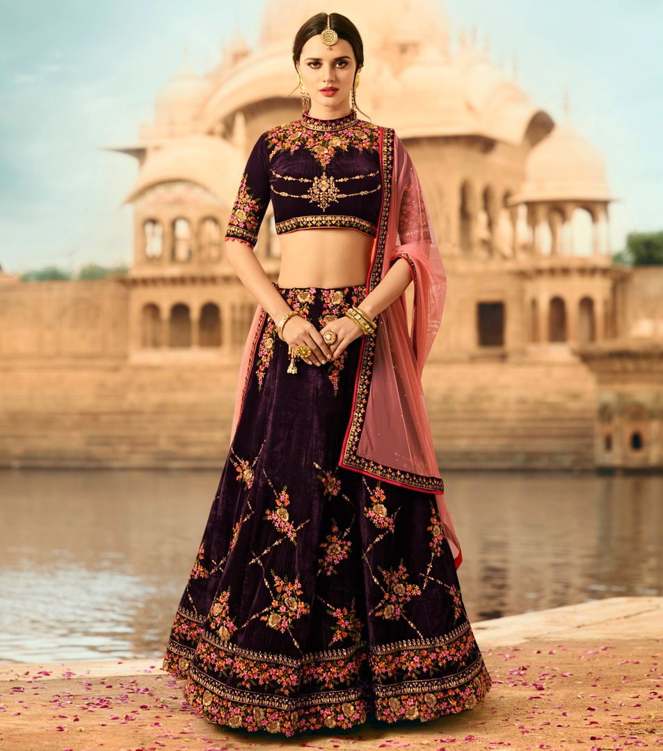 Wine  Velvet Designer Lehenga For Wedding Functions : Kreshti Collection  NYF-3301 - YellowFashion.in