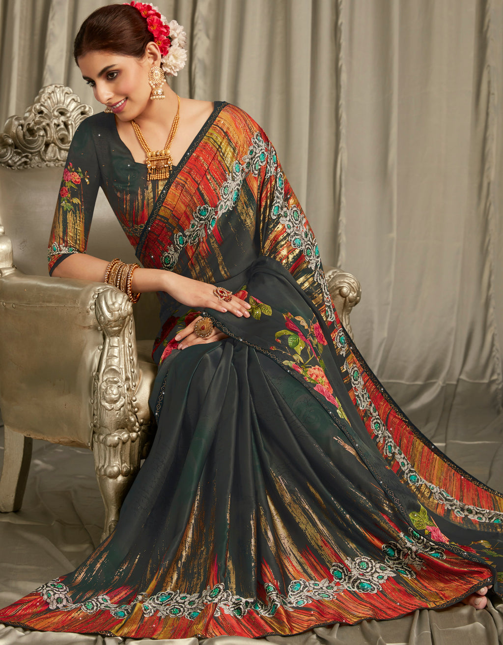 Black Color Crepe Silk Youthful Designer Sarees NYF-5276