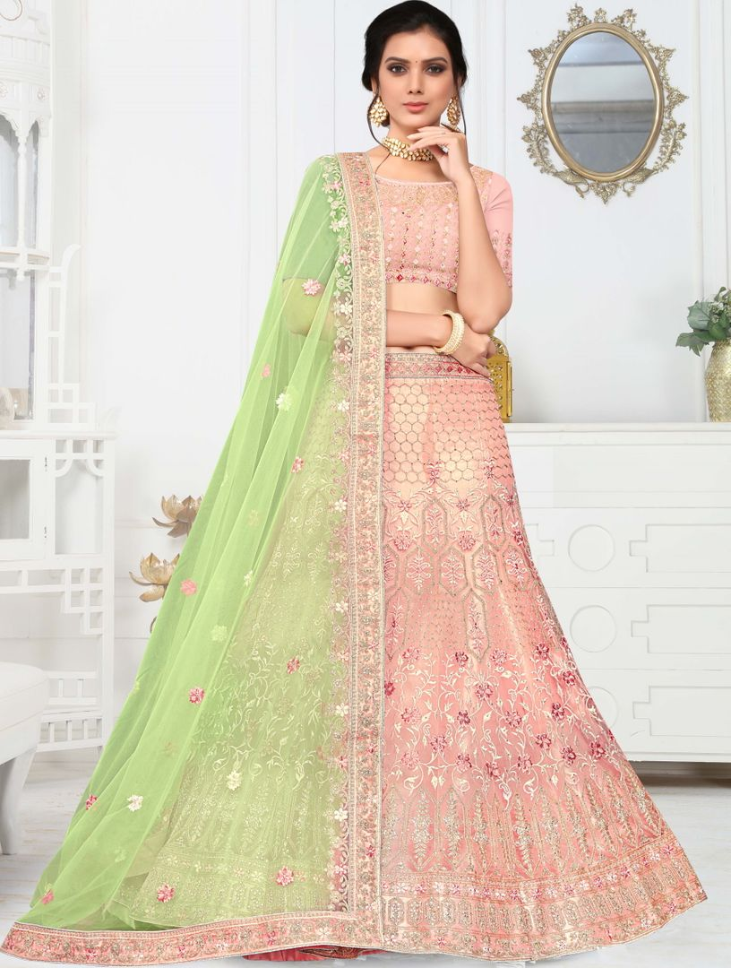Peach Color Silk Splendid Designer Lehenga NYF-4331 - YellowFashion.in