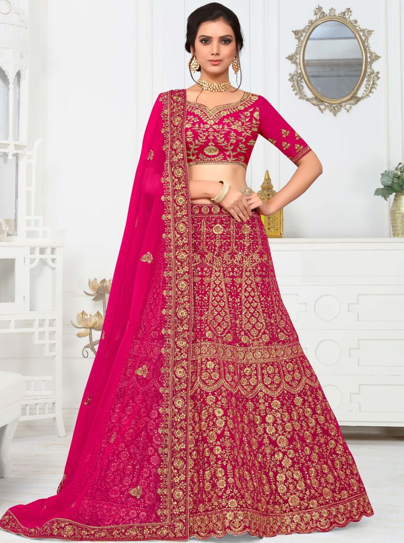 Rani Pink Color Raw Silk Splendid Designer Lehenga NYF-4333 - YellowFashion.in