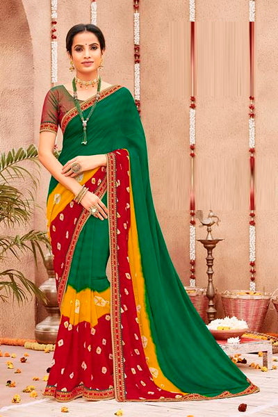 Green, Red and Yellow Color Chiffon Casual Wear Saree -Ladli Bahu  Collection  YF#11245