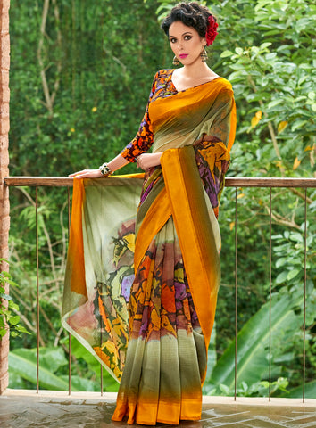 Mehendi & Yellow Color Chanderi Silk Designer Digital Print Sarees : Avnita Collection YF-60362