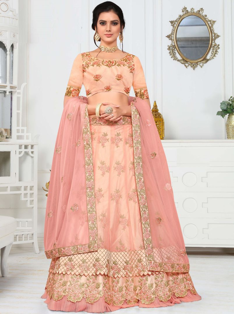 Peach Color Crepe Silk Splendid Designer Lehenga NYF-4326 - YellowFashion.in