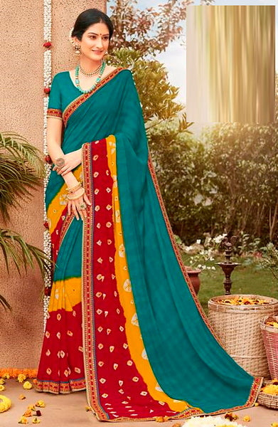 Blue Red and Yellow Color Chiffon Casual Wear Saree -Ladli Bahu  Collection  YF#11246