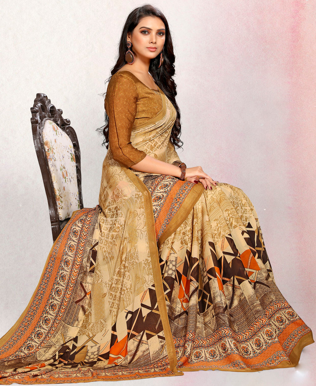 Beige Color Crepe Printed Kitty Party Sarees NYF-9488
