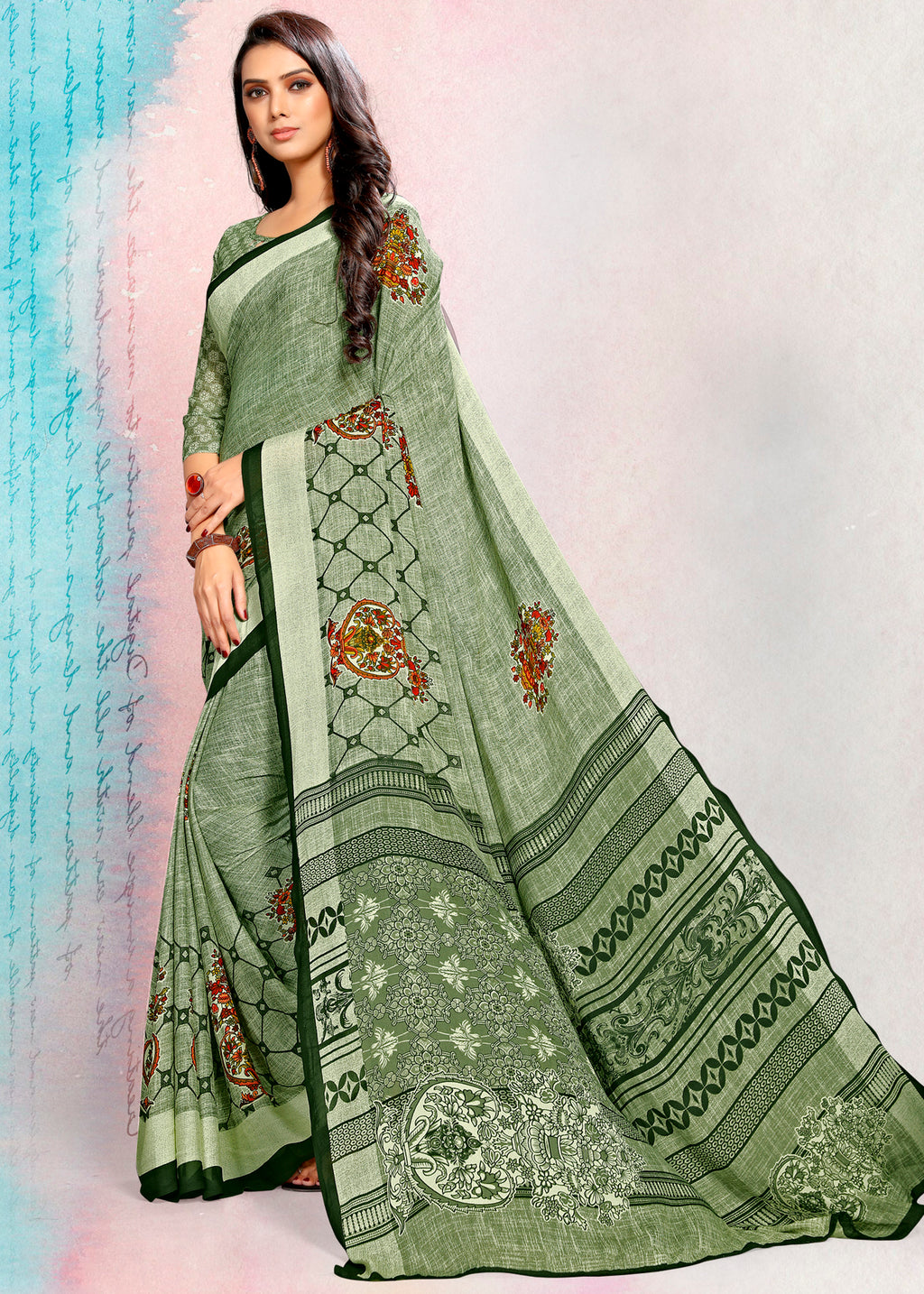 Green Color Crepe Printed Kitty Party Sarees NYF-9489