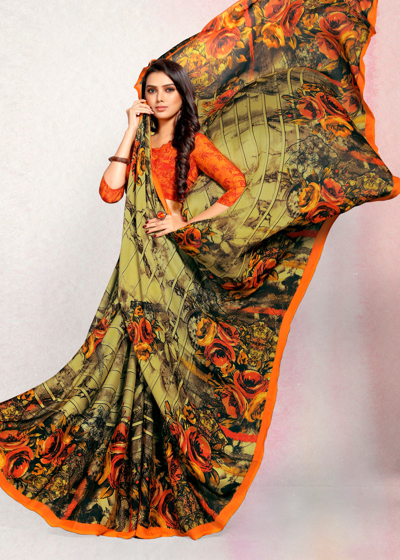 Multi Color Crepe Printed Kitty Party Sarees NYF-9490