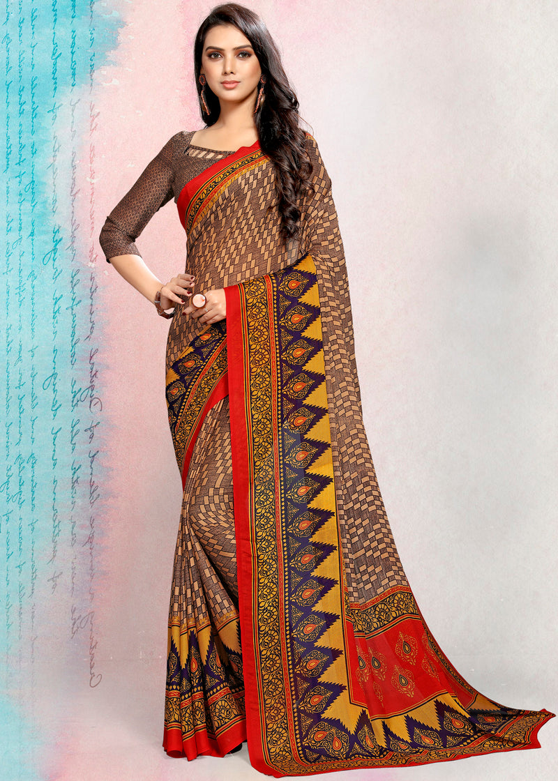 Multi Color Crepe Printed Kitty Party Sarees NYF-9491