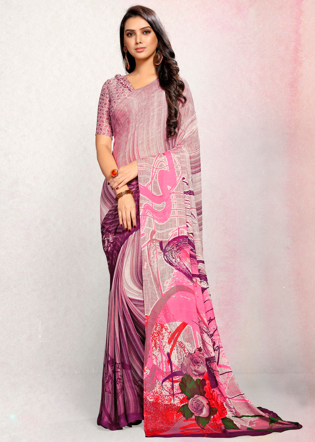 Purple Color Crepe Printed Kitty Party Sarees NYF-9492