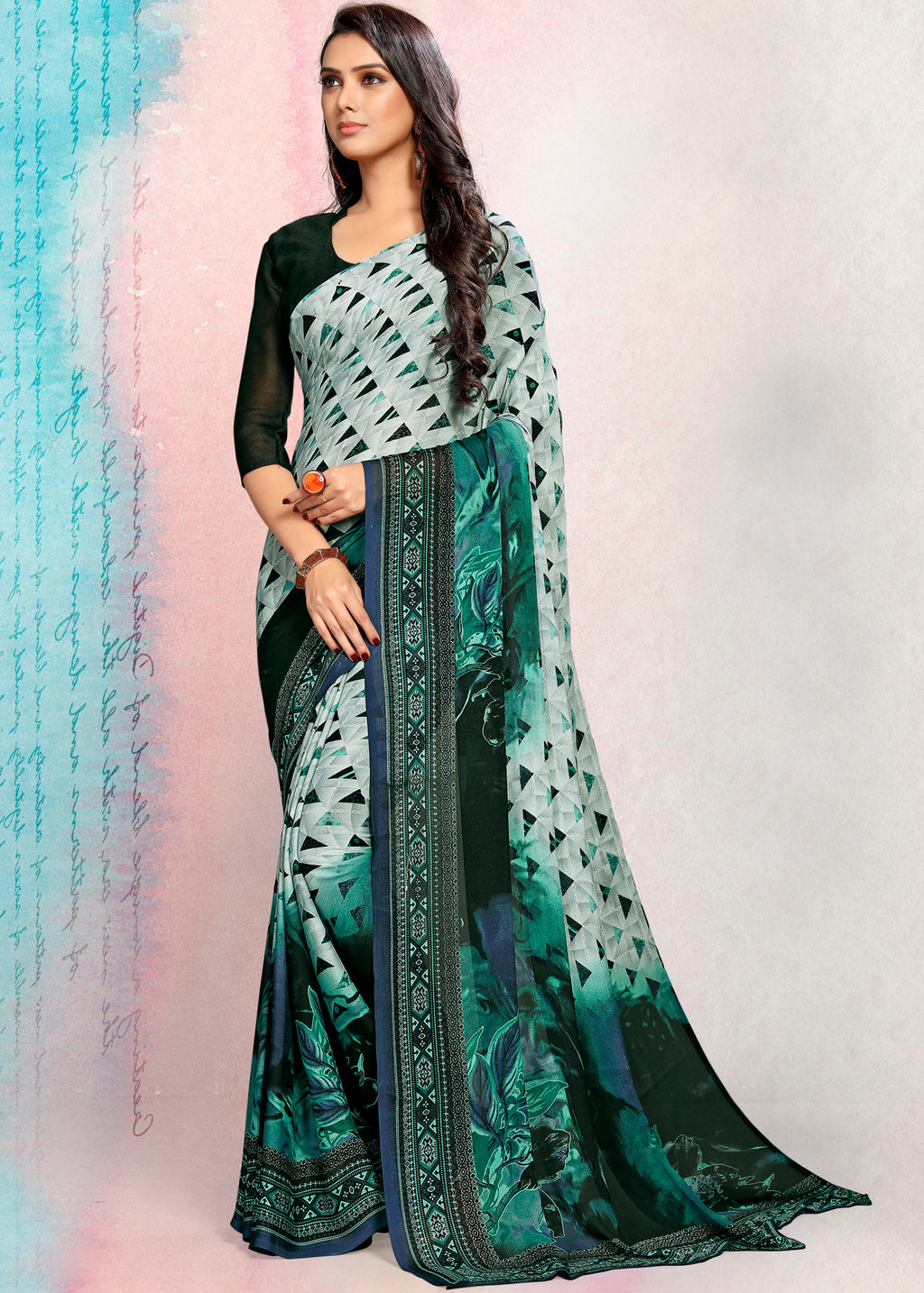 Sea Green Color Crepe Printed Kitty Party Sarees NYF-9493