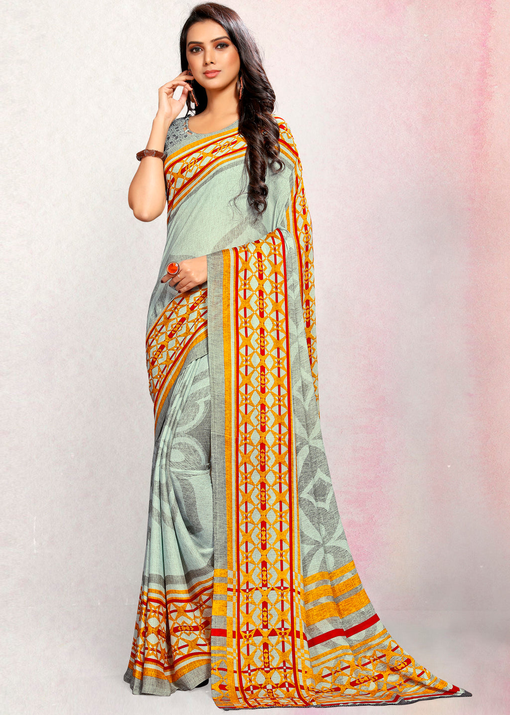Grey Color Crepe Printed Kitty Party Sarees NYF-9494
