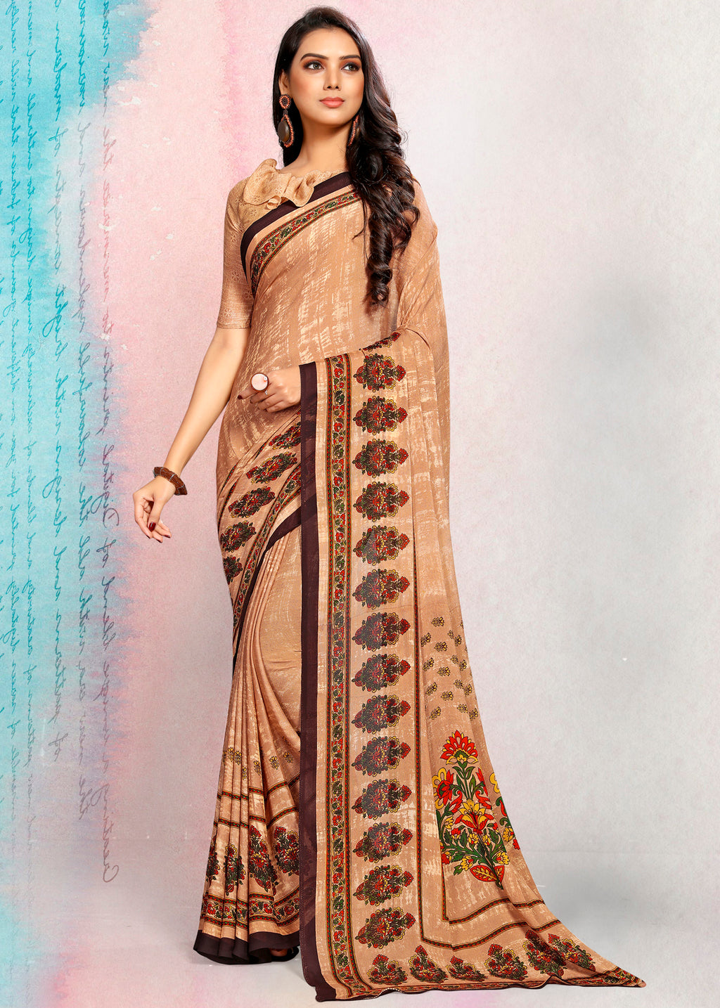 Beige Color Crepe Printed Kitty Party Sarees NYF-9495