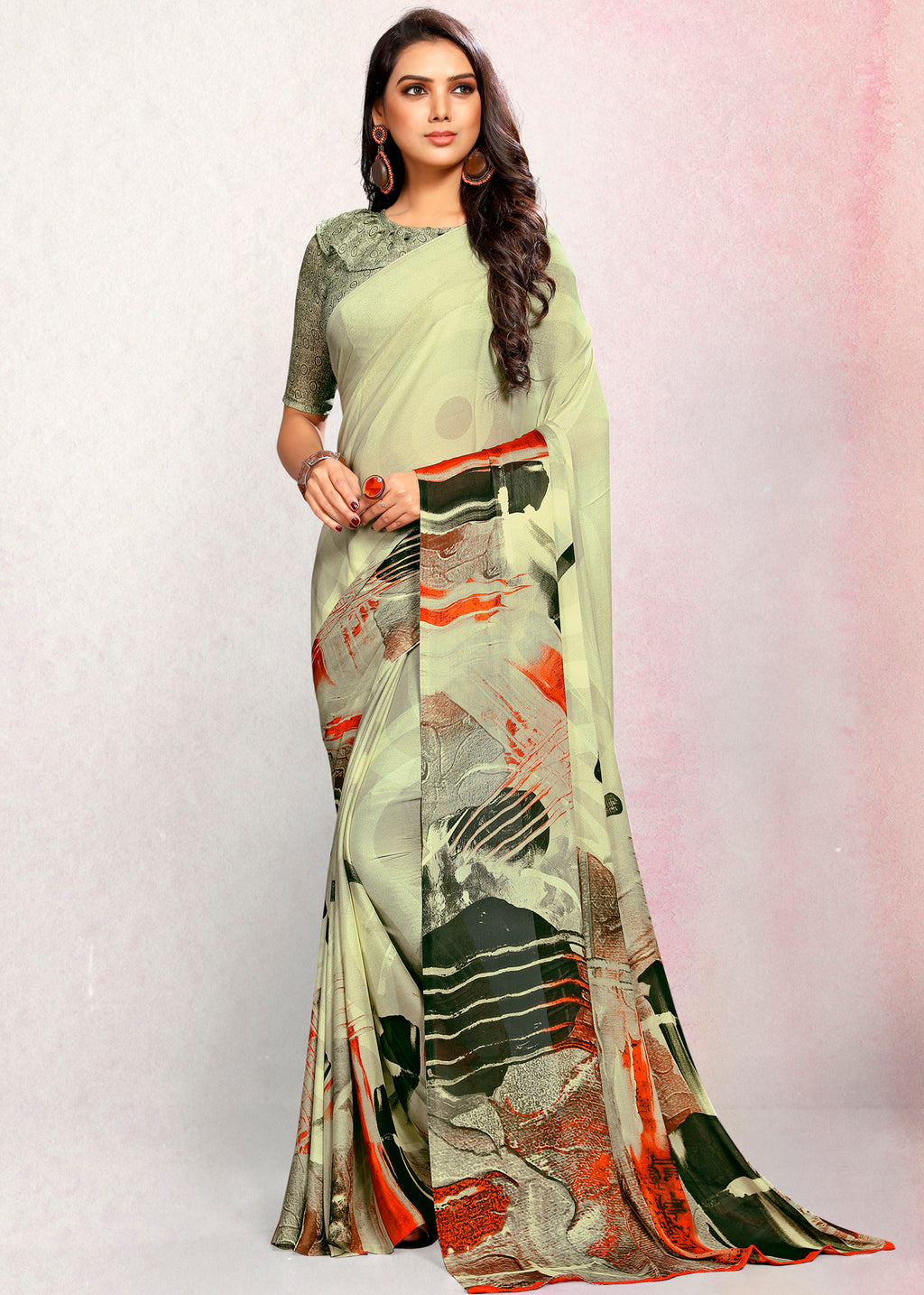 Pastel Green Color Crepe Printed Kitty Party Sarees NYF-9496