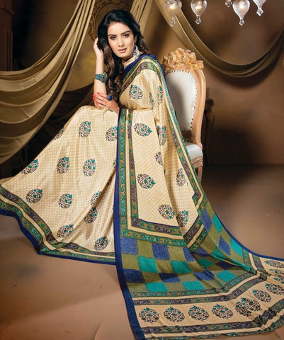 Cream, Green & Blue Color Crepe Casual Party Sarees : Vastrakala Collection  YF-43949