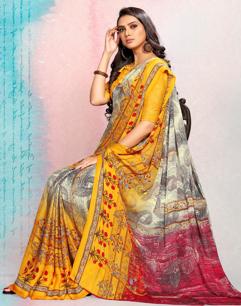 Yellow Color Crepe Printed Kitty Party Sarees NYF-9497