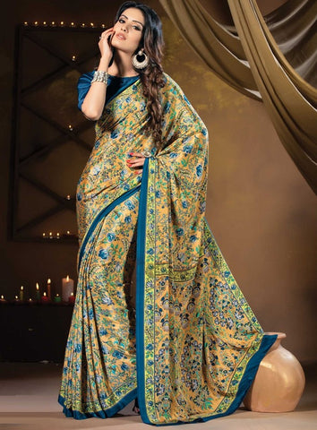 Yellow & Blue Color Crepe Casual Party Sarees : Vastrakala Collection  YF-43958