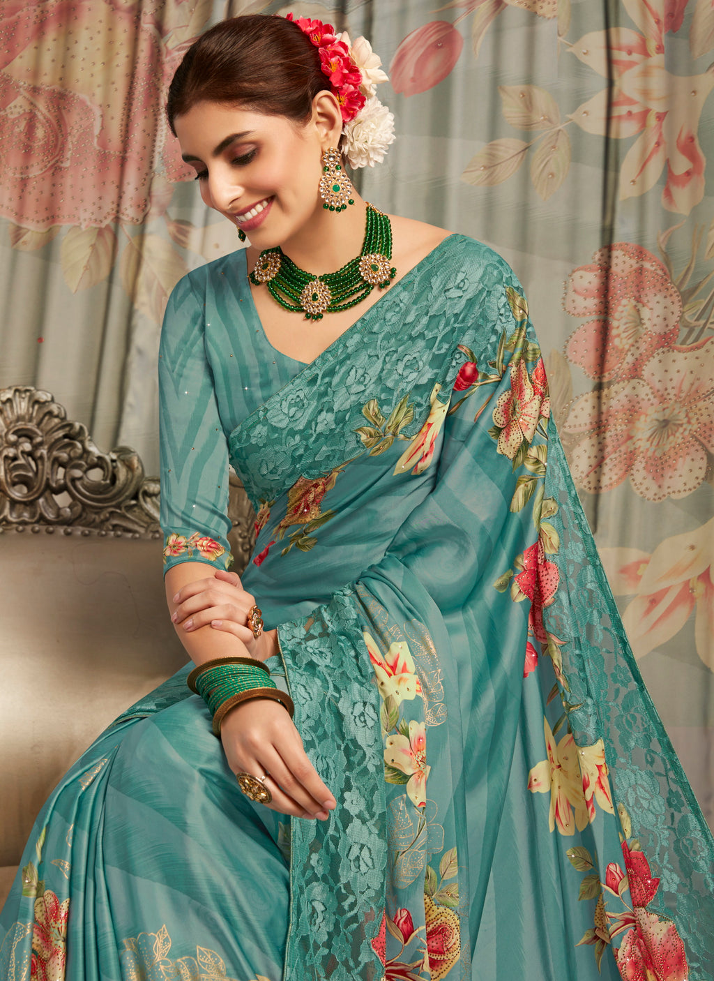 Sky Blue Color Crepe Silk Youthful Designer Sarees NYF-5277