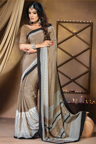 Light Brown Color Crepe Casual Party Sarees : Vastrakala Collection  YF-43964