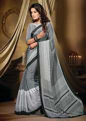 Grey Color Crepe Casual Party Sarees : Vastrakala Collection  YF-43965