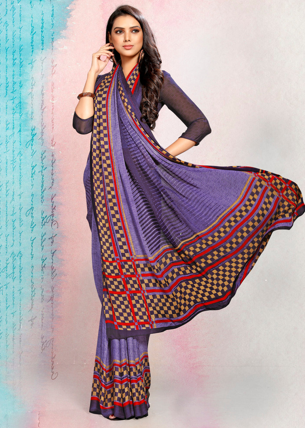 Purple Color Crepe Printed Kitty Party Sarees NYF-9498