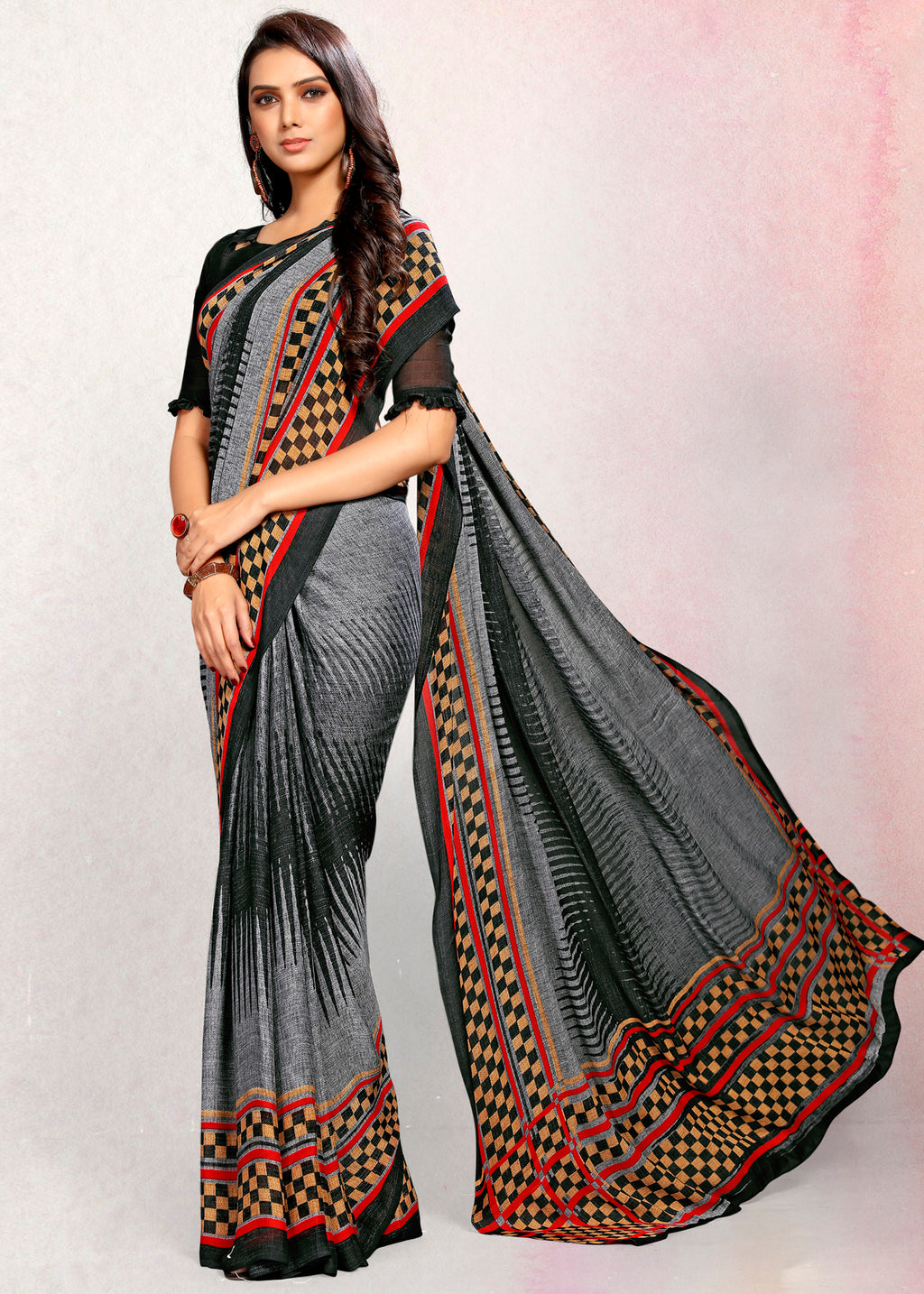 Grey Color Crepe Printed Kitty Party Sarees NYF-9499