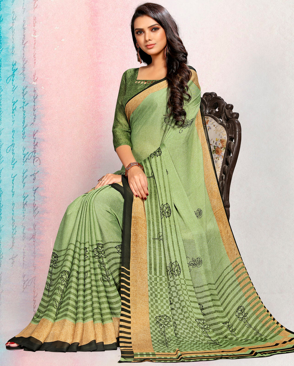 Green Color Crepe Printed Kitty Party Sarees NYF-9500