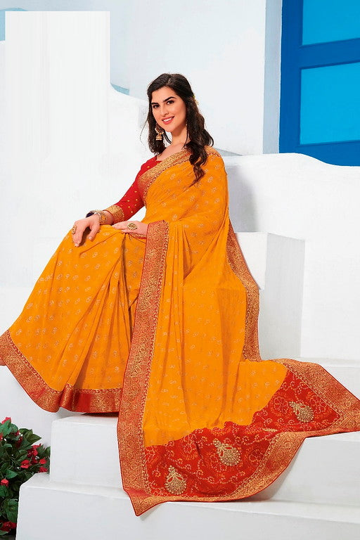 Yellow and Red Color Chiffon Casual Wear Saree -Ladli Bahu  Collection  YF#11247