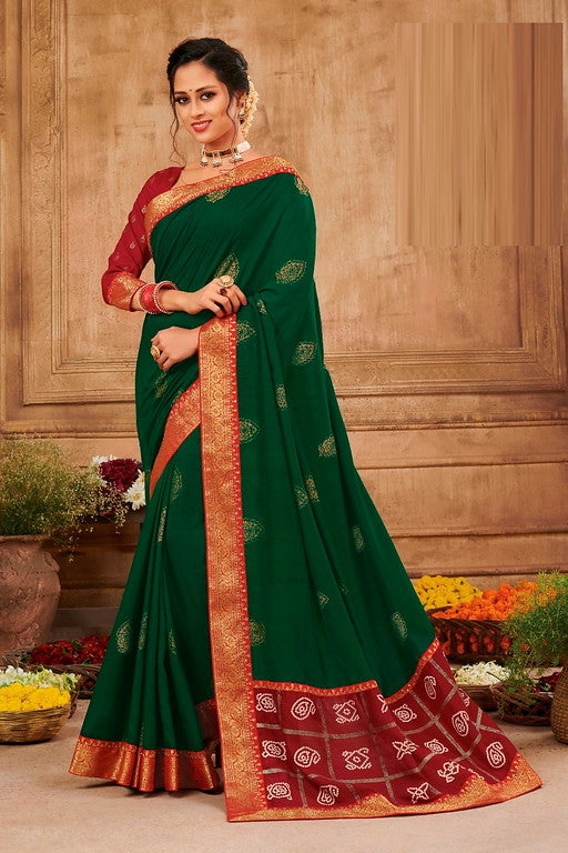 Green and Red Color Chiffon Casual Wear Saree -Ladli Bahu  Collection  YF#11248