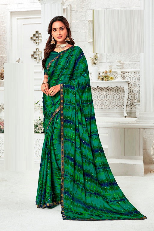 Green and Blue Color Chiffon Casual Wear Saree -Ladli Bahu  Collection  YF#11249