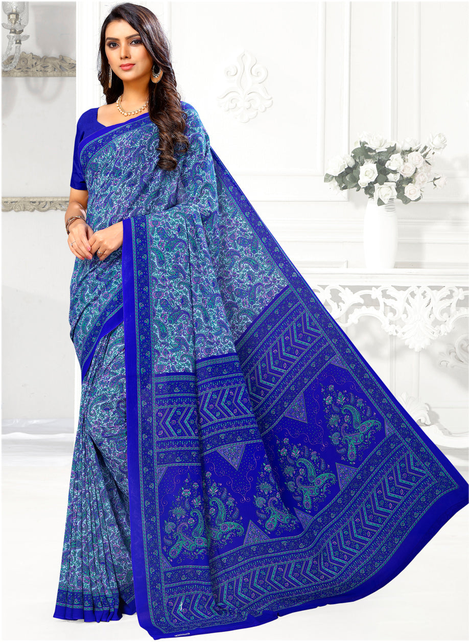 Blue Color Crepe Casual Wear Sarees NYF-9408
