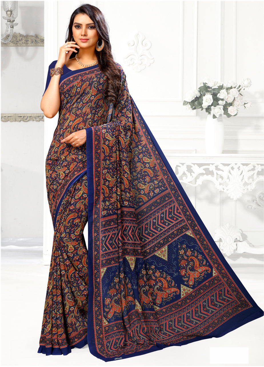 Blue Color Crepe Casual Wear Sarees NYF-9409