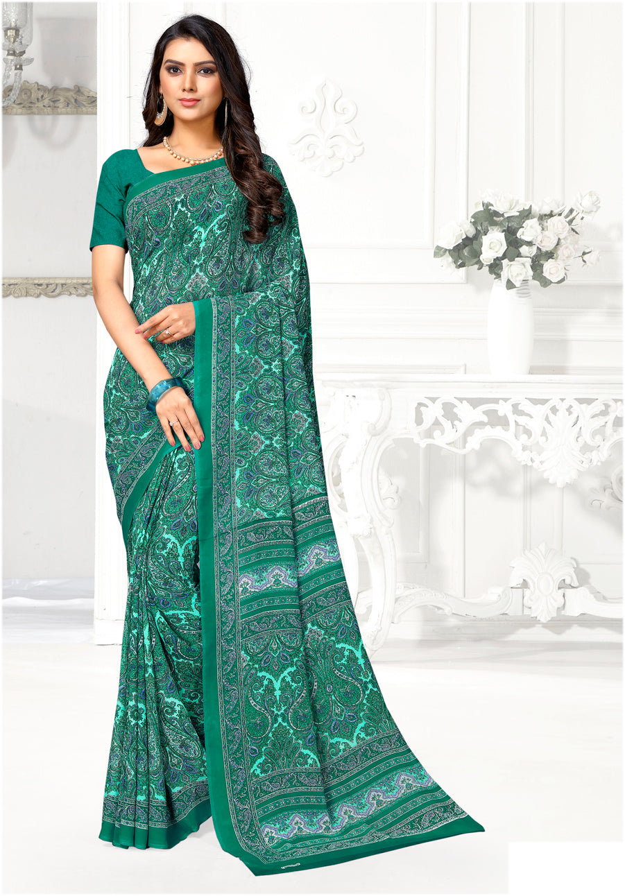 Green Color Crepe Casual Wear Sarees NYF-9410