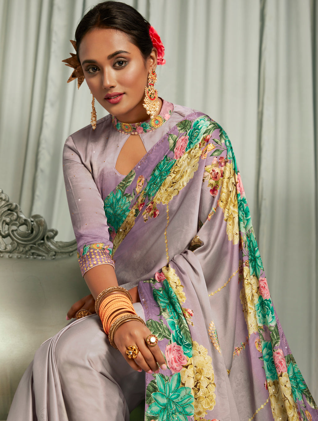 Lavender Color Crepe Silk Youthful Designer Sarees NYF-5278