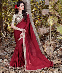 Maroon Color Georgette Crepe Designer Party Wear Sarees : Nayna Collection  YF-51907