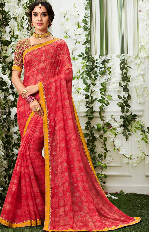 Pink and Yellow Color Chiffon Casual Wear Saree -Ladli Bahu  Collection  YF#11250