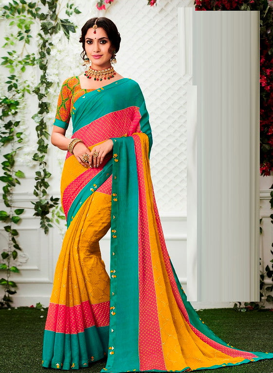 Blue , Yellow and Pink Color Chiffon Casual Wear Saree -Ladli Bahu  Collection  YF#11251