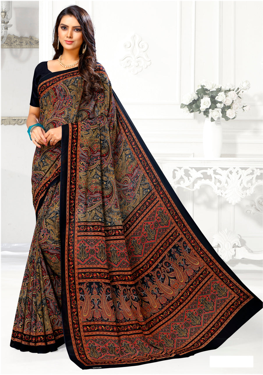 Black Color Crepe Casual Wear Sarees NYF-9412