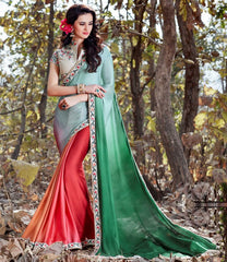 Green & Pink Color Crepe Designer Party Wear Sarees : Nayna Collection  YF-51908