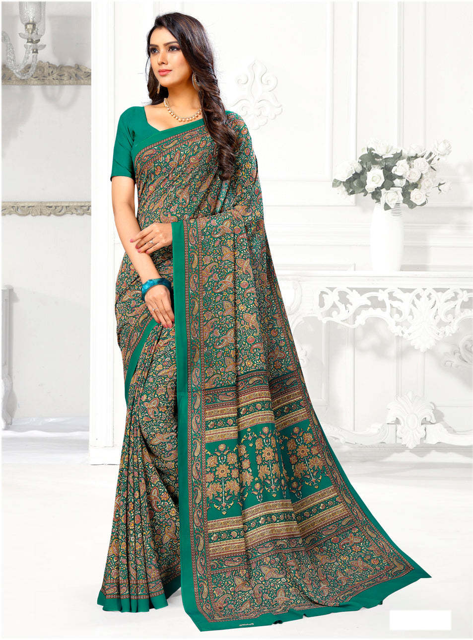 Green Color Crepe Casual Wear Sarees NYF-9415